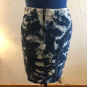 BCBGMaxazria tie dyed, front zipper skirt, size L